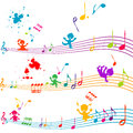 Colored stave with kids singing Royalty Free Stock Images