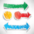 Colored stickers in the shape of arrows Stock Photo