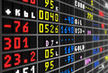 Colored stock ticker board on black Royalty Free Stock Photography