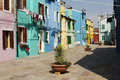 Colored street on the island of burano Royalty Free Stock Images