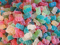 Colored sugared candies on display at a candy shop Royalty Free Stock Photo