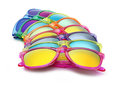Colored sunglasses summer concept on white background Royalty Free Stock Photo