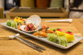 Colored sushi plate Royalty Free Stock Photo