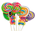 Colored sweet candys lollipops sticks saint nicholas sweets christmas candys isolated white background Royalty Free Stock Photos
