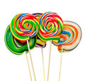 Colored sweet candys lollipops sticks saint nicholas sweets christmas candys isolated white background Stock Images