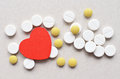 Colored tablets with red heart