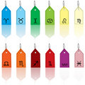 Colored tags with zodiacal signs Stock Photo