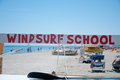 Colored text that indicates the presence of a windsurfing schoo school Royalty Free Stock Photos