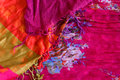 Colored textile with fringe Royalty Free Stock Photo