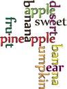 Colored texts fruit beautiful banana apple sweet pineapple pear pumpkin desert Stock Photos