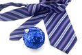 Colored tie and Christmas ball Stock Photo