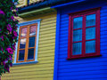 Colored traditional Norwegian wooden houses Royalty Free Stock Photo