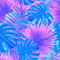 Colored tropical forest vector illustration. exotic tropic seamless pattern. beautiful leaves, plants. Summer, spring