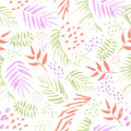 Colored tropical leaves seamless vector pattern