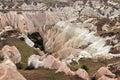 Colored tufa formations in kizilcukur valley of cappadocia turkey Stock Photos