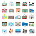Colored urban government building icons Royalty Free Stock Photo