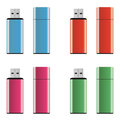 Colored USB pen drives Royalty Free Stock Photos