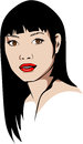 Colored vector illustration of a long haired Asian woman