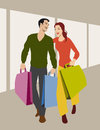 Colored vector illustration young couple shopping Stock Photo