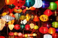 Colored vietnamese silk lanterns in the evening Stock Images