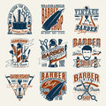 Colored Vintage Barbershop Logotypes Set