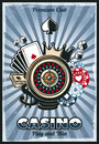 Colored Vintage Gambling Poster Royalty Free Stock Photo