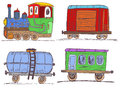 Colored vintage train with wagons color vector sketch collection of a different Stock Photos