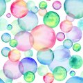 Colored watercolor circles. Seamless pattern. Rainbow bubbles. Hand-drawn illustration