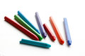 Colored wax crayons. Isolated on a white background. Closeup Royalty Free Stock Photo