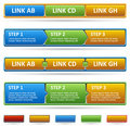 Colored web site menu and process steps. Stock Photos