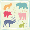 Colored Wild Animals' Set Stock Images