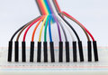 Colored wire on protoboard Royalty Free Stock Photos