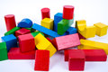 Colored wooden blocks educational toy for children Royalty Free Stock Images