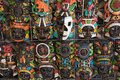 Colored wooden masks at a souvenir stand in Chichen Itza, Yucatan, Mexico Royalty Free Stock Photo