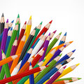 Colored wooden pencils many on white vector illustration Royalty Free Stock Photography