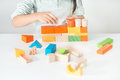 Colored wooden toys for the building Royalty Free Stock Photo