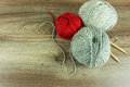 Colored wool balls with needles