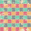 Colored woven seamless pattern with grunge effect Royalty Free Stock Images