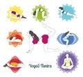 Colored yoga poses and chakras set
