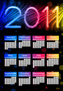 Colorful 2011 Calendar on Black Royalty Free Stock Photo