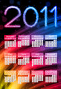 Colorful 2011 Calendar on Black Royalty Free Stock Photos