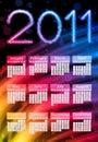 Colorful 2011 Calendar on Black Royalty Free Stock Photos
