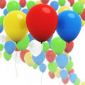 Colorful 3d balloons - Three in focus Stock Photo