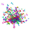 Colorful 3d numbers exploded Royalty Free Stock Images