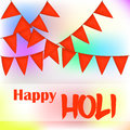 Colorful abstract background or greeting card with orange flags for Indian Traditional Festival. Happy Holi poster or placard temp Royalty Free Stock Photo