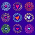 Colorful abstract background hearts in round bright frames. Vector illustration