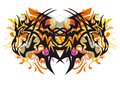 Grunge tribal butterfly formed by dragon heads Royalty Free Stock Photo