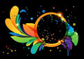 Colorful abstract decoration with circle frame on black background