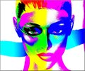 Colorful abstract digital art image of woman's face, close up Royalty Free Stock Photo