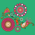Colorful abstract element floral pattern decorative on green bac Royalty Free Stock Photo